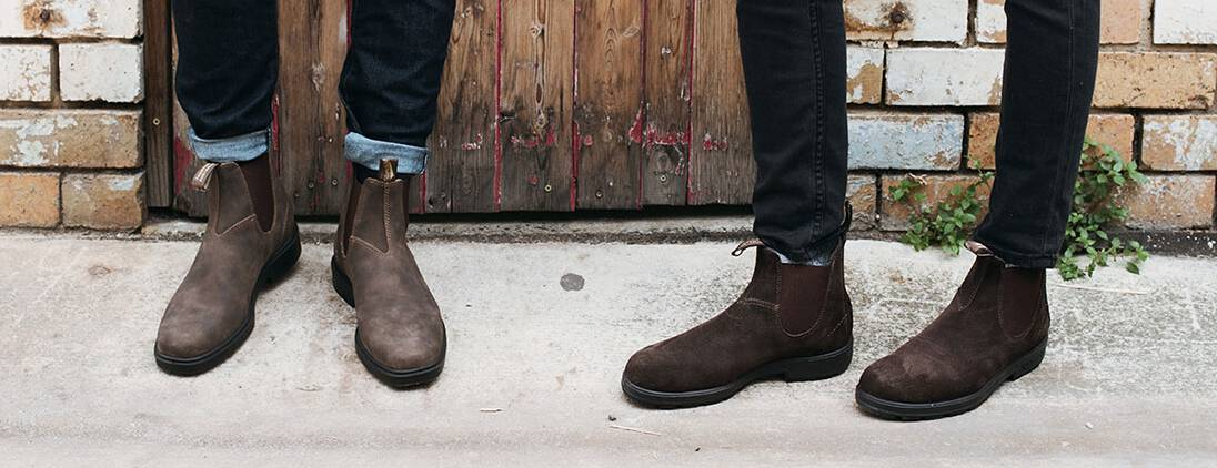 chelsea boots brown men on feet