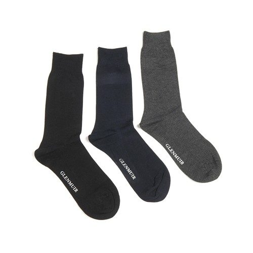 Glenmuir Classic Socks Plain Black Navy Grey